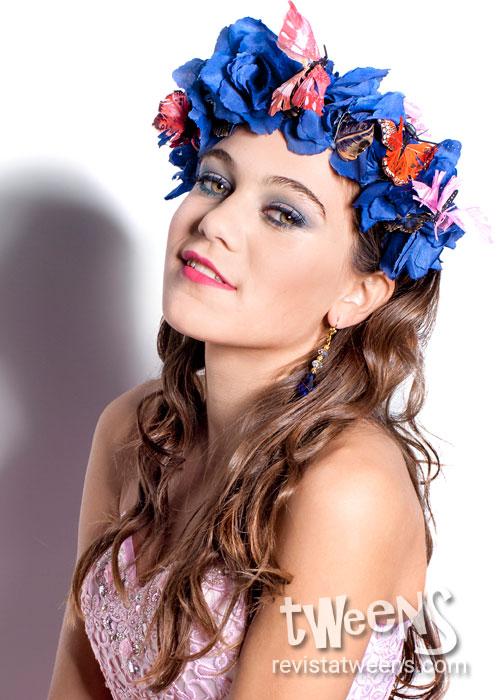 Corona de flores vincha 15 azul