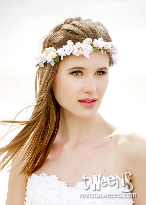 Vincha de flores 15 años blanca