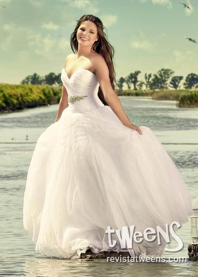 Vestido de 15 blanco drapeado
