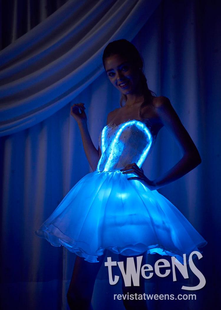 Vestido de 15 corto luminoso led