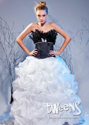 Vestido de quinceanera blanco y negro
