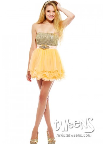 Vestidos de 15 cortos dorados