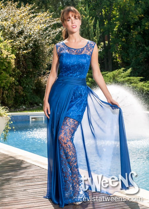 Vestido de 15 en azul
