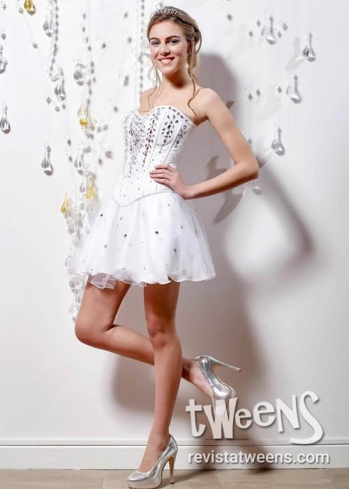 07f6b82e67 Vestido de 15 años blanco largo y corto - Vestidos Led by Diseños ...