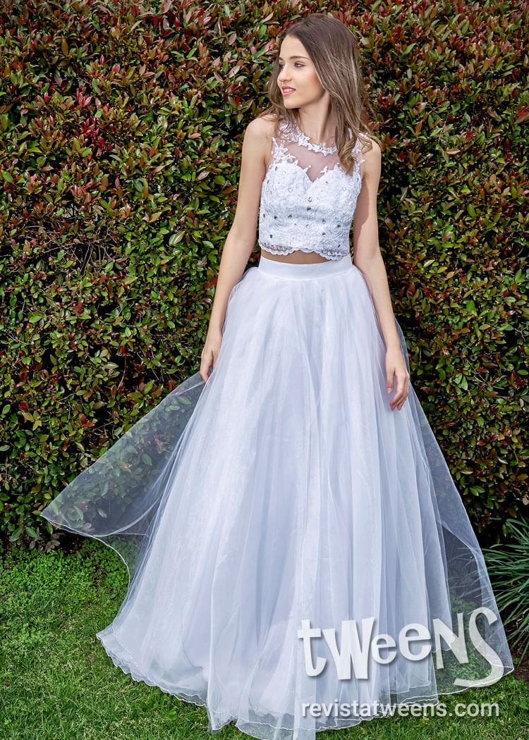 c3e618c07 Vestido de 15 años blanco con top y dos polleras - Carolina Rossi ...
