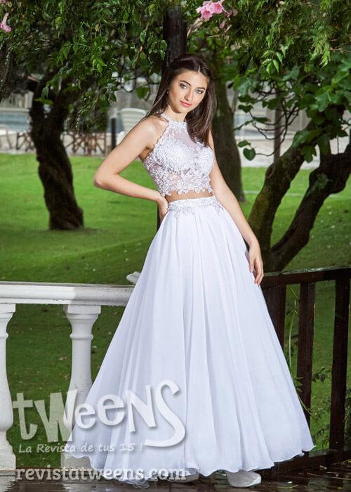 Vestido de 15 años blanco largo dos piezas crop top