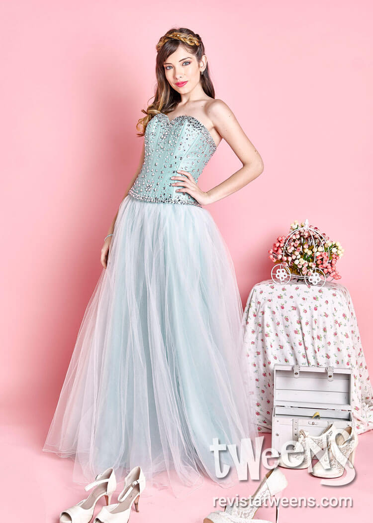 Vestidos 15 azul celeste