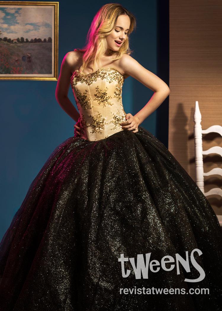 elegir despacho estilo máximo Reino Unido Vestido de 15 años negro y dorado - Antonella Vestidos ...