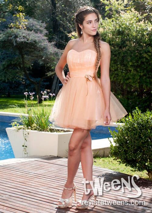 Vestido De 15 Años Corto Color Salmón Creaciones Av By