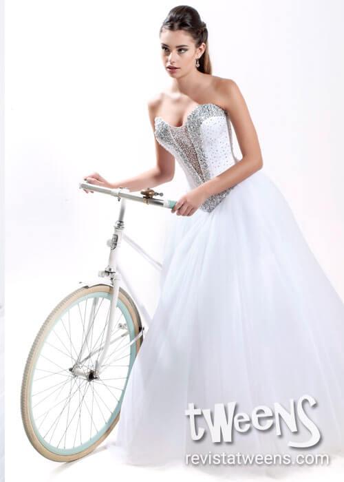 Vestido de 15 años blanco largo con hermoso bordado