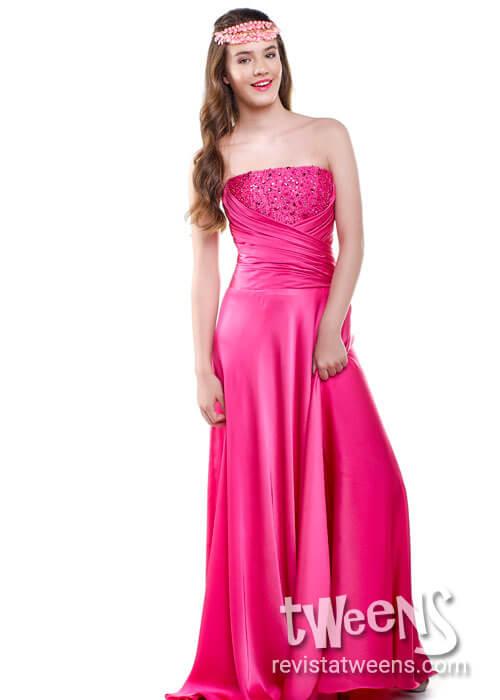 a7e6290c61 Vestido de 15 fucsia largo al cuerpo - Isabel Montaño - Vestidos de ...